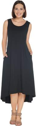 Joan Rivers Classics Collection Joan Rivers Petite Jersey Knit Midi Dress w/ Hi-Low Hem and Pockets