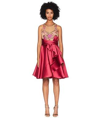 Marchesa Sleeveless Draped A-Line Mikado Cocktail with Embroidered Bodice