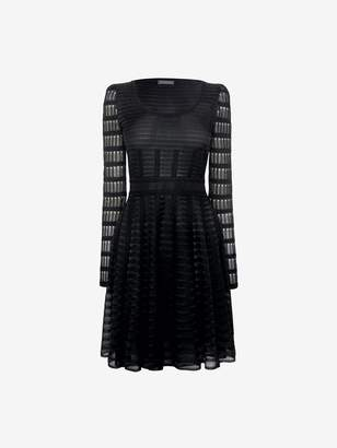 Alexander McQueen Scoop Neck Sheer Knit Mini Dress
