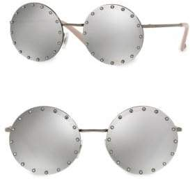 Valentino 52MM Crystal-Trim Mirrored Round Sunglasses