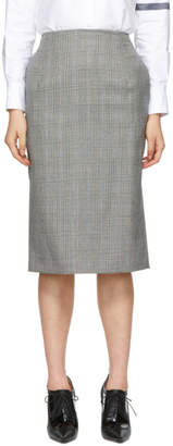 Thom Browne Black and White Wool Funmix Pow Sheath Pencil Skirt