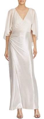 Ralph Lauren Metallic Faux-Wrap Gown