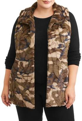 Recharge & Renew Women's Plus Size Camo Faux Fur Vest