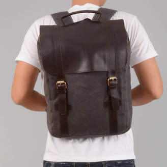 EAZO Waxed Canvas Backpack With Leather Flap