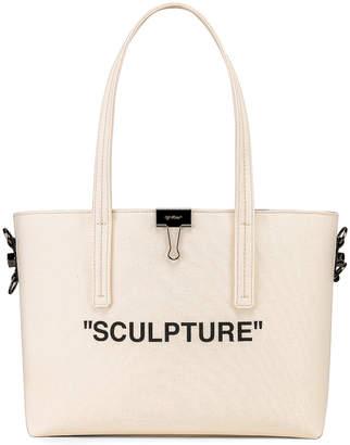Off-White Off White Canvas Shopper Bag in Beige & Black | FWRD