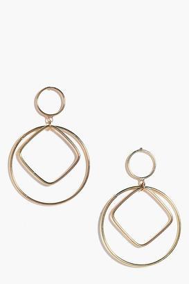 boohoo Zoe Geometric Double Circle Earrings gold