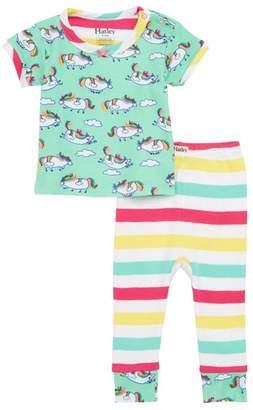Hatley Unicorns & Stripes Fitted Two-Piece Pajamas Set