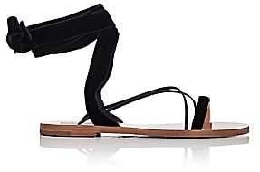 Valentino Women's Velvet & Leather Ankle-Wrap Sandals-Black