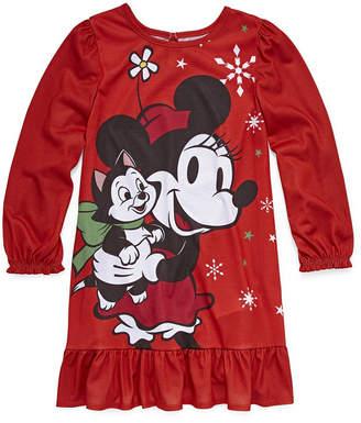 Disney Girls Jersey Nightshirt Minnie Mouse Long Sleeve Round Neck