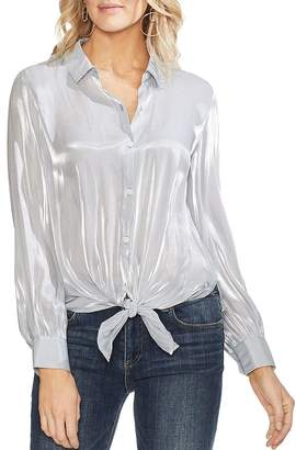 Vince Camuto Striped Organza Tie-Front Blouse