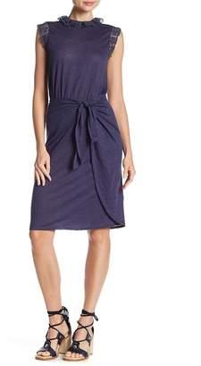 Rebecca Taylor Crochet Lace Trim Linen Dress