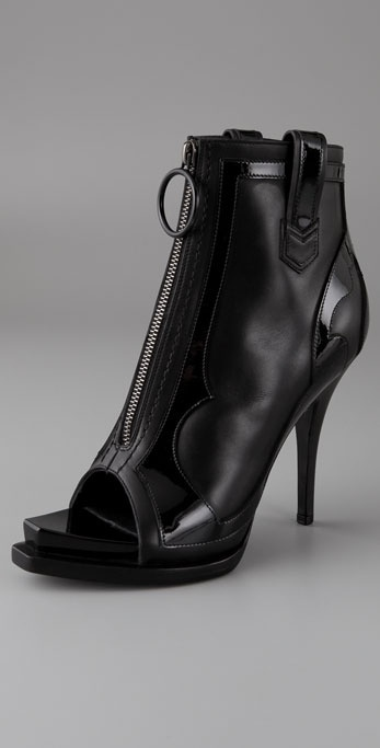 Givenchy Shoes Open Toe Zip Front High Heel Booties