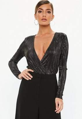 Missguided Black Glitter Plisse Flared Bodysuit