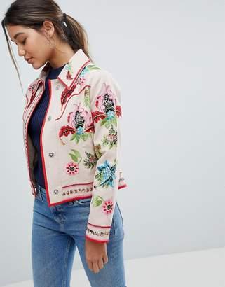 Asos Design Embroidered Canvas Jacket