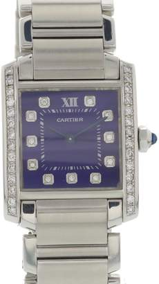Cartier Tank Francaise 2301 Stainless Steel & Blue Dial 25mm Womens Watch