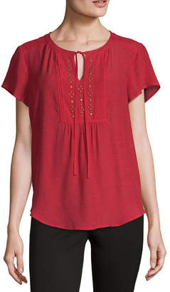 Liz Claiborne Womens Split Crew Neck Short Sleeve Embellished Blouse