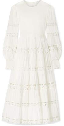 Zimmermann Primrose Daisy Smocked Crochet-trimmed Fil Coupe Cotton-voile Midi Dress