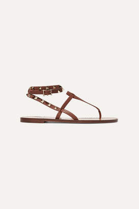 Valentino Garavani The Rockstud Leather Sandals - Tan