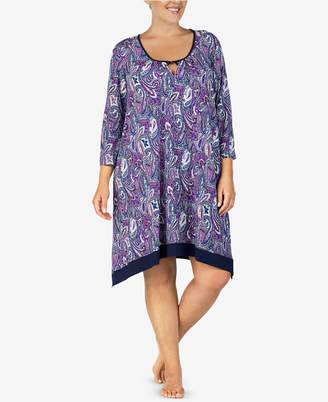 Ellen Tracy Plus Size Printed Keyhole Nightgown