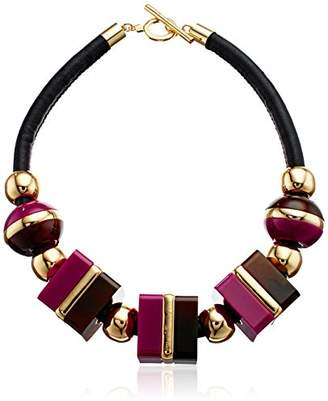 Trina Turk Mulholland Mod Oversized Cubes Leather Collar Necklace