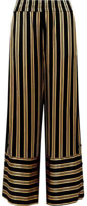 Brinni Striped Satin Wide-leg Pants - Black