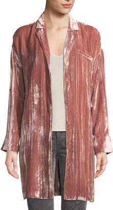 J Brand Regan Velvet Long-Sleeve Duster Jacket