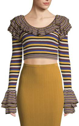 Ronny Kobo Women's Striped Ruffle Crop Top