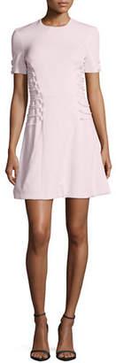 Cushnie et Ochs Short-Sleeve Cady Lace-Up Dress