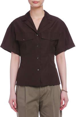 Aspesi (アスペジ) - ASPESI オープンカラー 半袖 サファリシャツ ダークブラウン 38