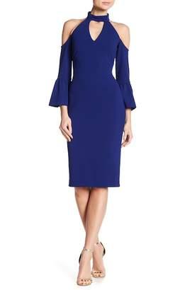 Rachel Roy Cold Shoulder Crepe Midi Dress