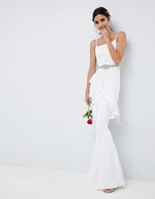 Asos Edition EDITION Ruffle Maxi Wedding Dress With Embellished Belt