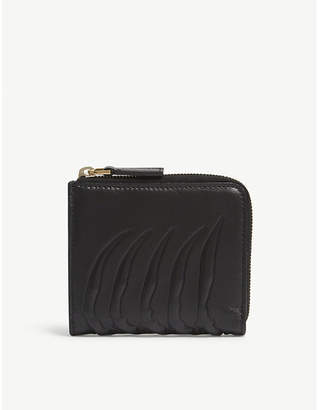 Alexander McQueen Black Rib Cage Zipped Leather Card Purse