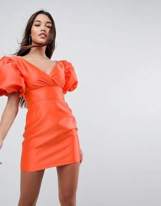 Asos DESIGN Extreme Sleeve Power Shoulder Mini Dress