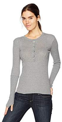 Enza Costa Women's Cashmere Thermal Long Sleeve Henley Top