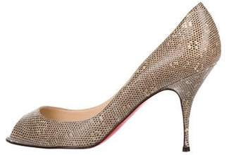 Christian Louboutin Ring Lizard Peep-Toe Pumps