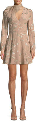 RED Valentino Glitter Dragonflies Silk Crepe Dress