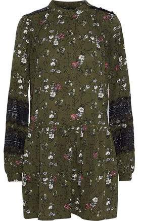 W118 By Baker Analise Lace-Paneled Floral-Print Crepe Mini Dress