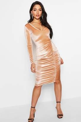 boohoo Velvet Ruched Detail Midi Dress