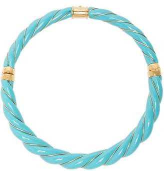 Aurelie Bidermann Diana Twisted Enamel Necklace - Womens - Blue