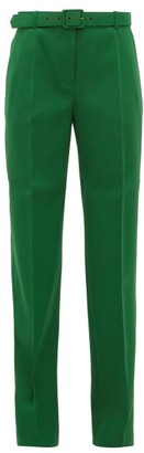Givenchy Belted Straight Leg Twill Trousers - Womens - Green
