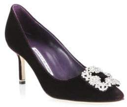 Manolo Blahnik Hangisi 70 Velvet Point Toe Pumps