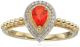 10K Yellow Gold Mexican Fire Opal Pear Shape Fashion Ring