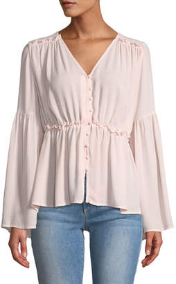 Catherine Malandrino Bell-Sleeve Button-Down Blouse