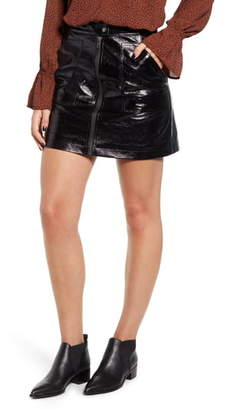 MinkPink Coyote Faux Leather Miniskirt