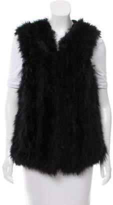 Haute Hippie Open Front Feather Vest