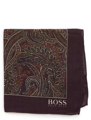 BOSS Paisley Wool & Silk Pocket Square