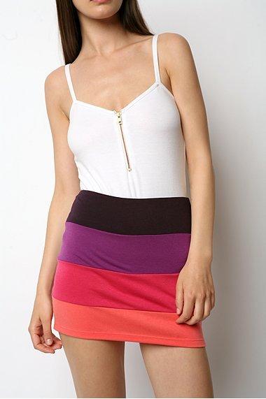 Silence & Noise Colorblock Mini Skirt