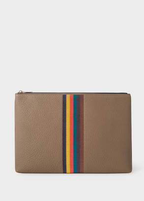 Paul Smith Men's Taupe 'Bright Stripe' Leather Document Pouch