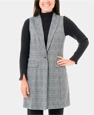 NY Collection Plaid Shawl Collar Ponte Vest