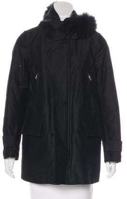 Zucca Fur-Trimmed Fleece-Lined Coat